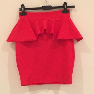 red/orange bebe peplum skirt